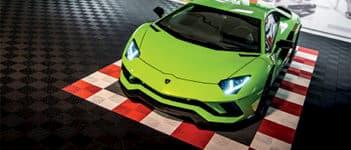 dalles de sol damier Polydal Le Mans auto racing