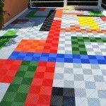 terrasse en dalles multicolore