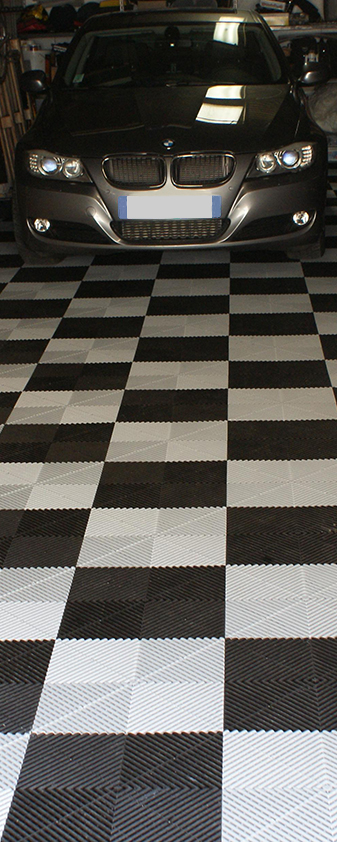 dalles de sol Polydal noir et blanc pour garage privé