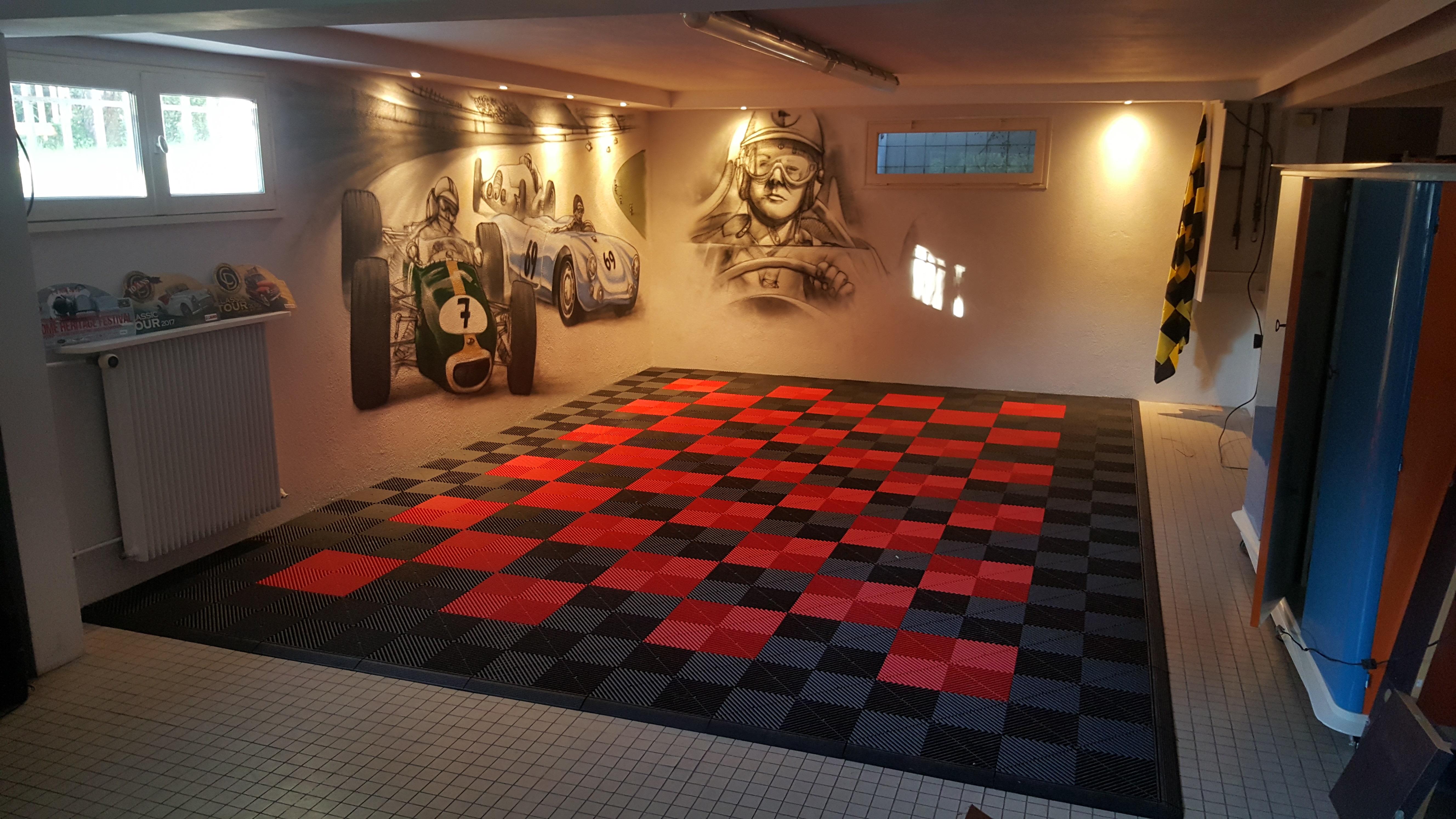 dalles sol Polydal noir rouge pour garage privé